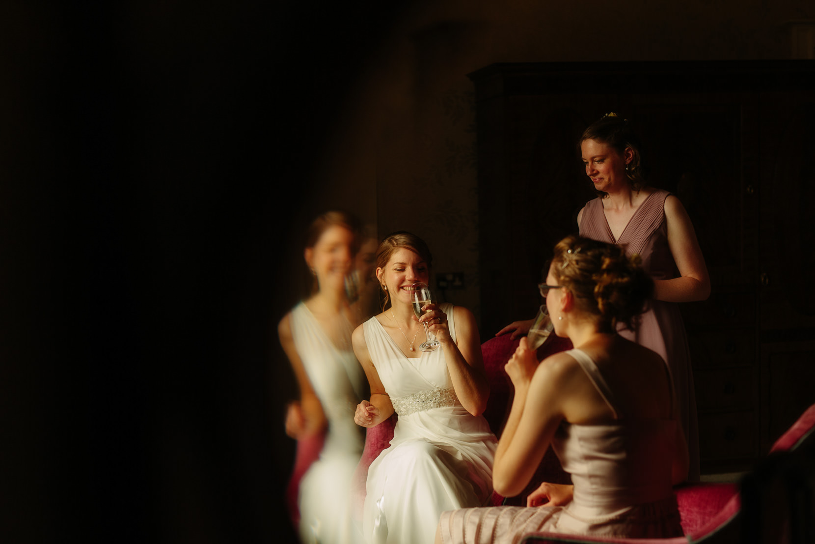 Sweeney Hall wedding photographer Phil Barrett BA(hons) With the bride and her sisters