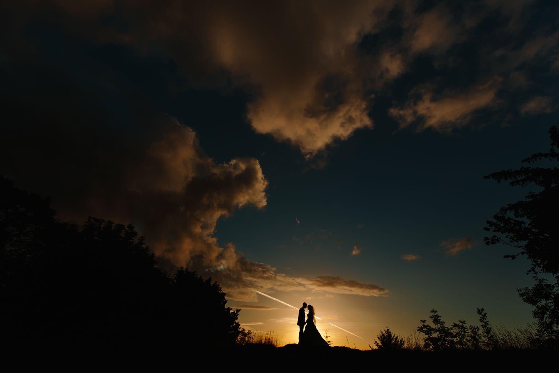 Beautiful Sunset shot of Ben and Jane captured by Shropshire Wedding Photographer pbartworks