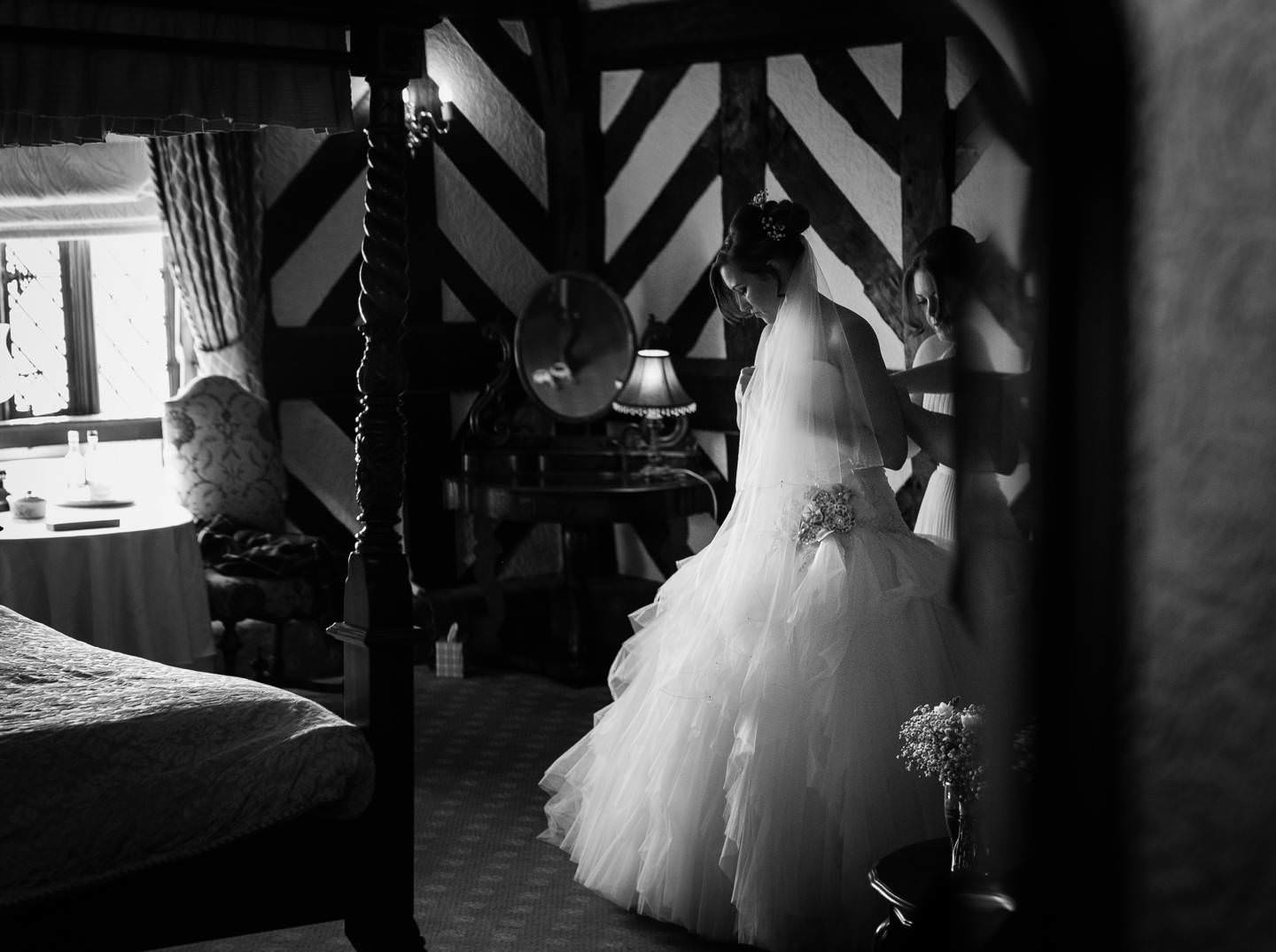 the beautiful bride at the Albright Hussey with Shropshire Wedding photographer pbartworks