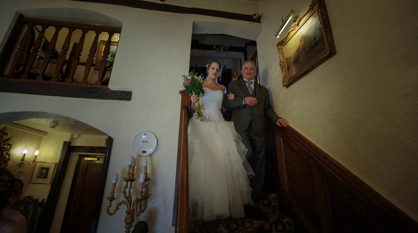 Shropshire Wedding Photography captures the bride making her way to the ceremony