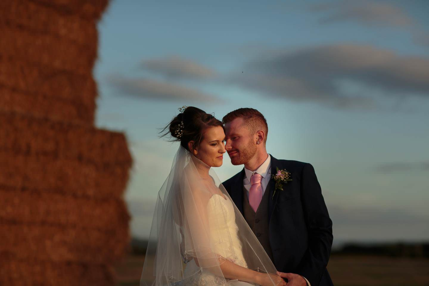 Ade and Rachael enjoying some beautiful light at their albright hussey shropshire wedding photography