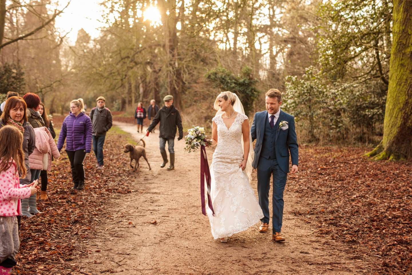 Bride and Groom get photobombed by dog walkers in Ellesmere, Shropshire.
