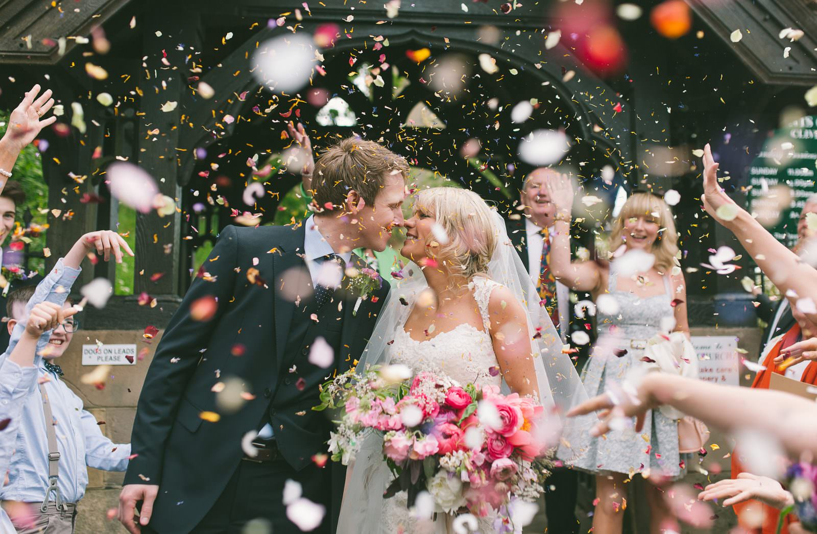wedding photographer in Shropshire captures an amazing confetti shot