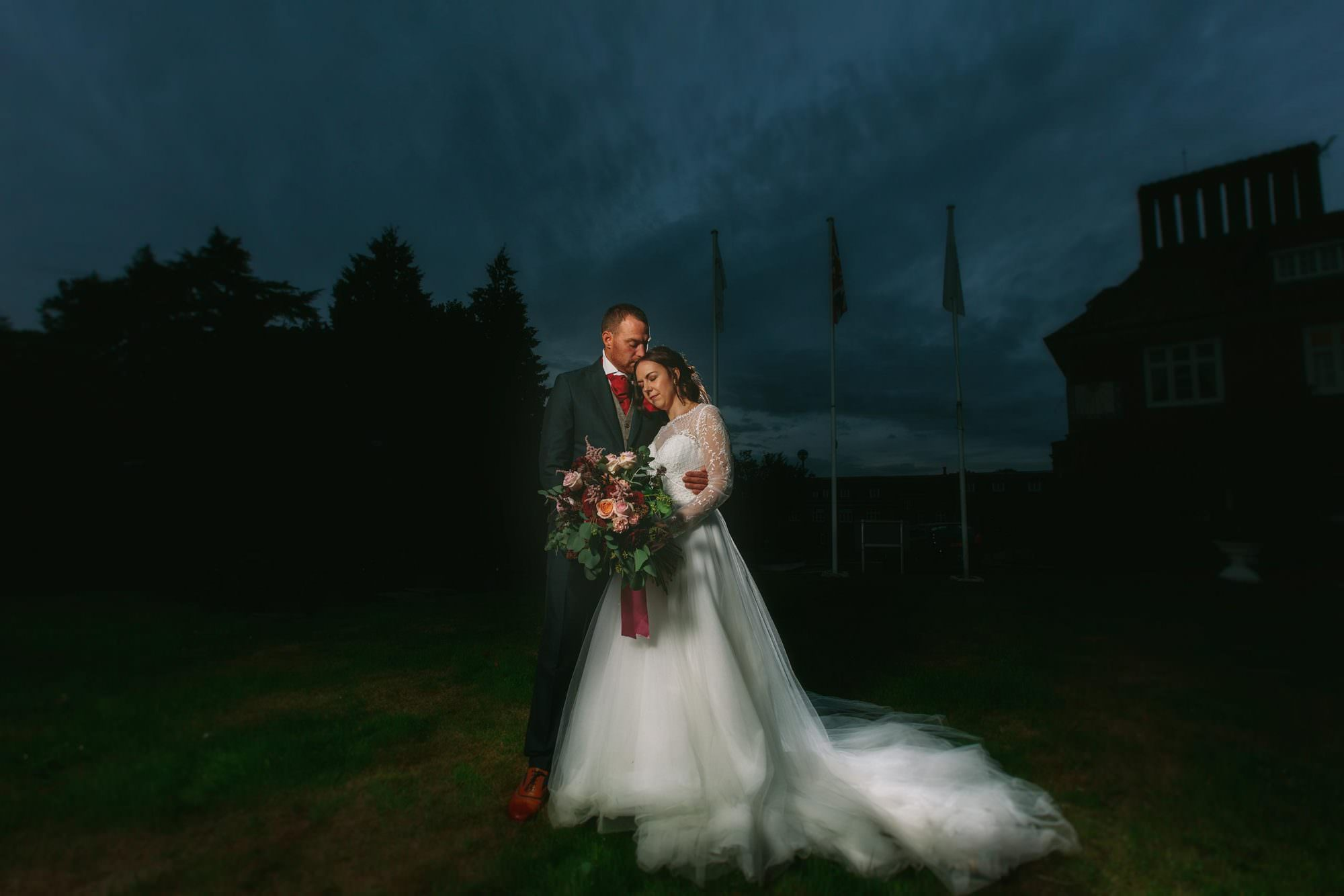 Dramatic portrait of Bride and groom at Albrighton Hall in Shropshire