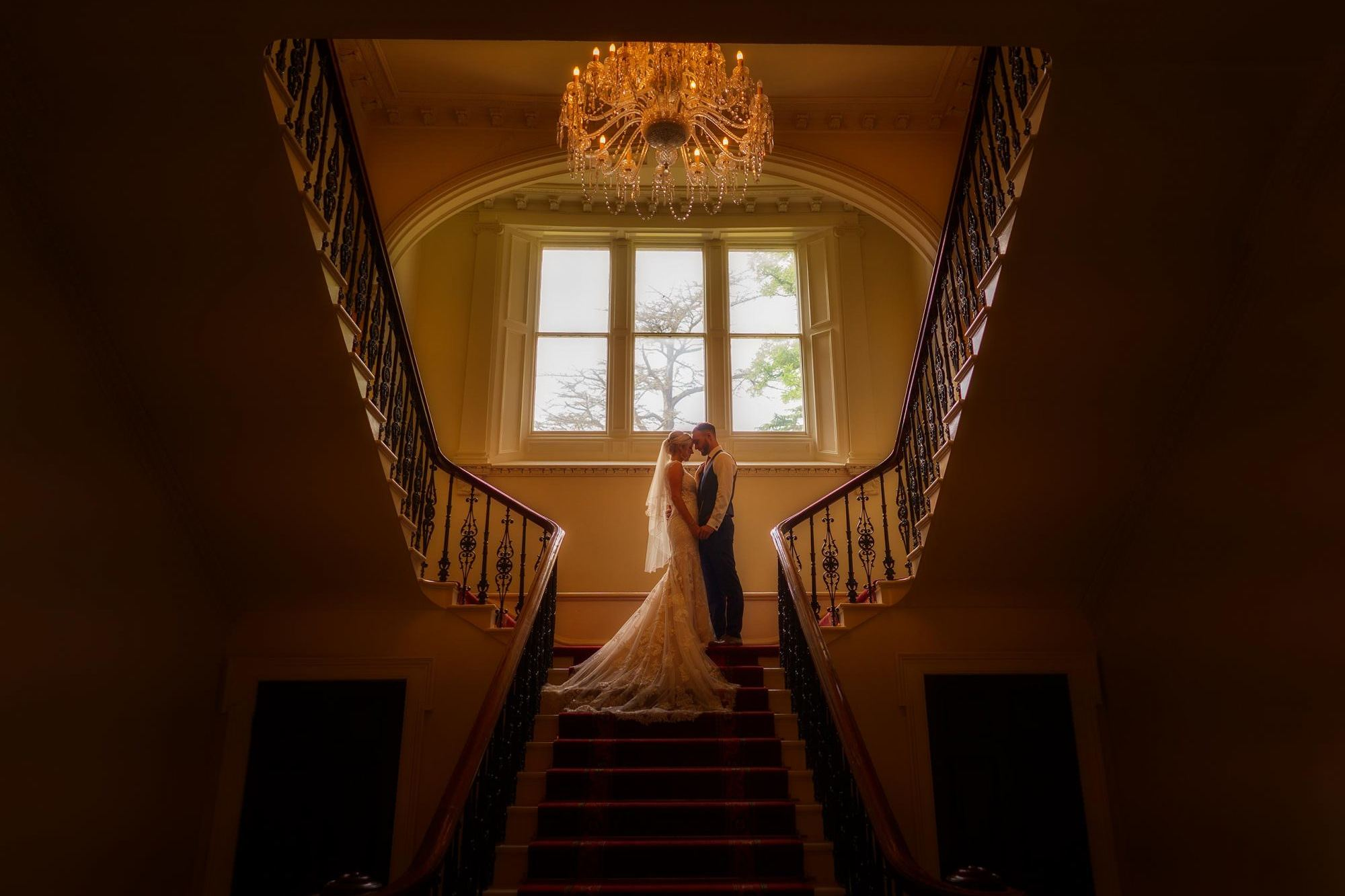 wedding photographer in shropshire captures beautiful artistic portrait of bride and groom