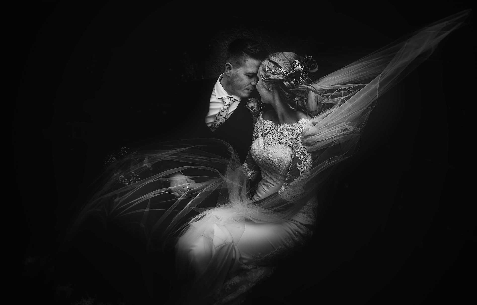 artistic portrait of bride and groom at their Soulton Hall Wedding by PbArtWorks Photography