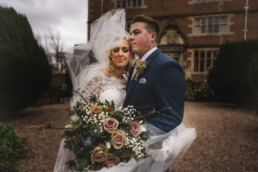 bride and groom at their Soulton hall wedding in shropshire