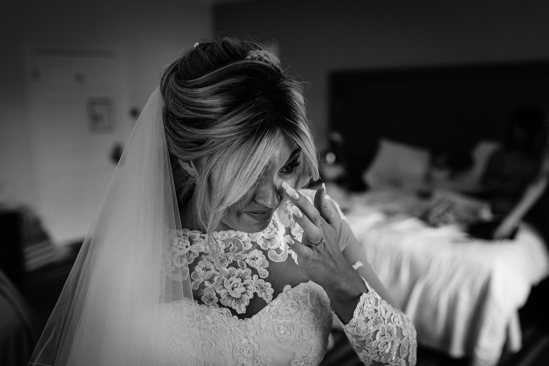 A tender moment as a bride's emotions spill over