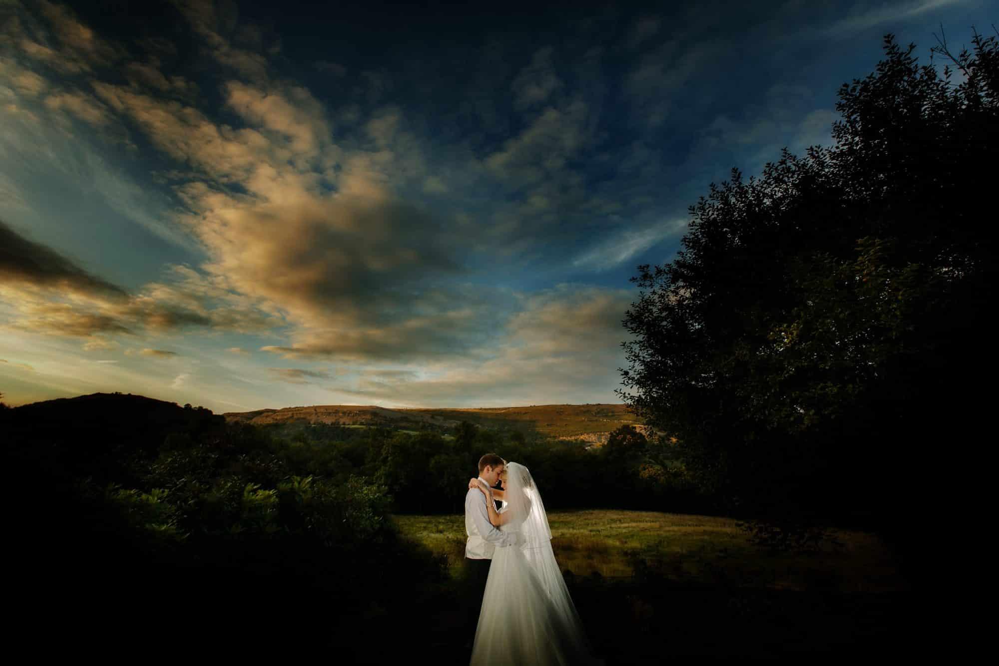 Shropshire documentary wedding photographer captures couple at sunset