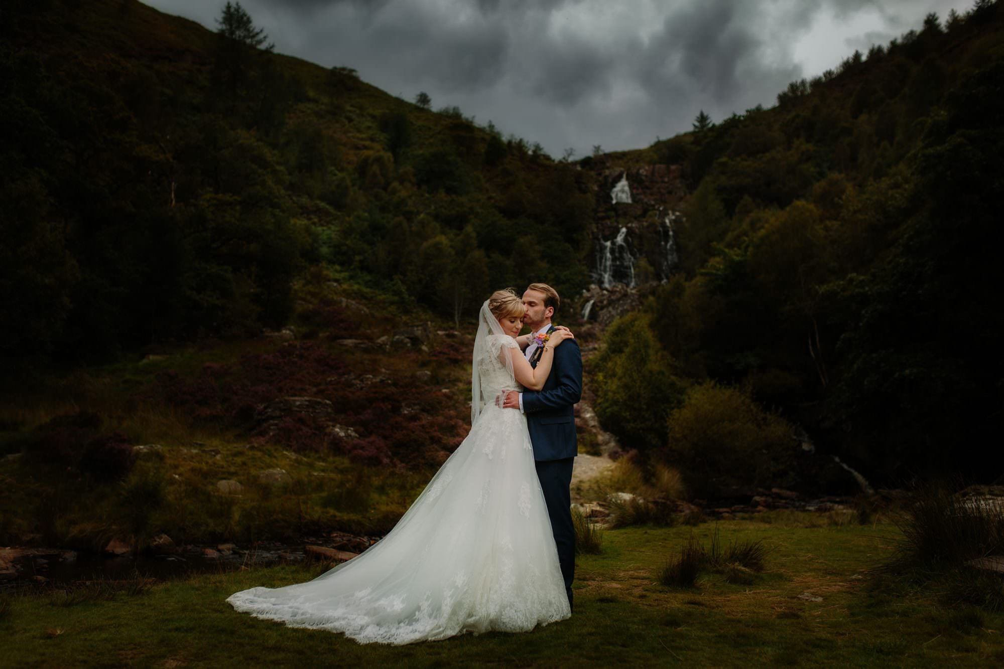 Lake Vyrnwy Wedding Day at the waterfall