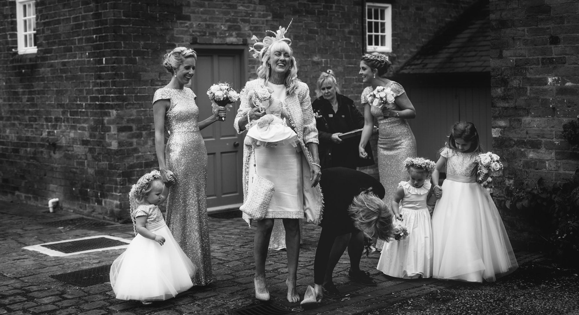 Wedding Photographer in Shropshire with bridal party in Combermere Abbey