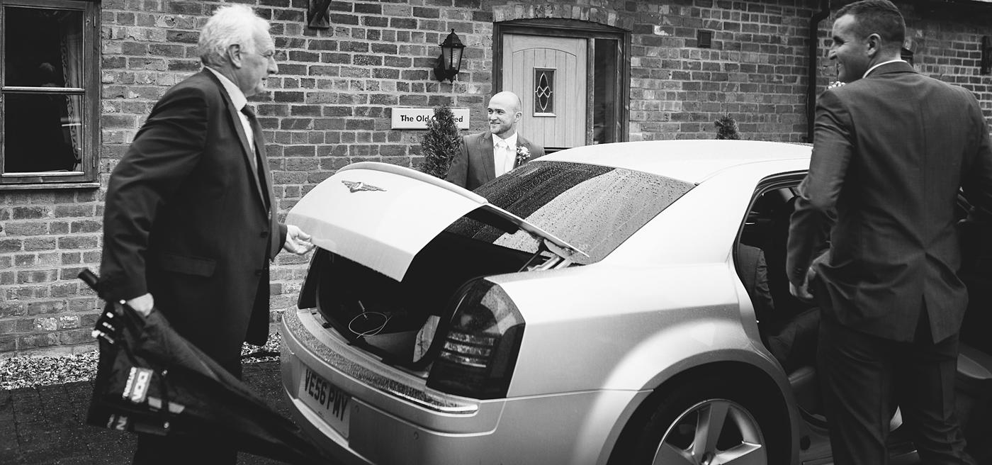 the groom prepares to leave for Winstanstow Church
