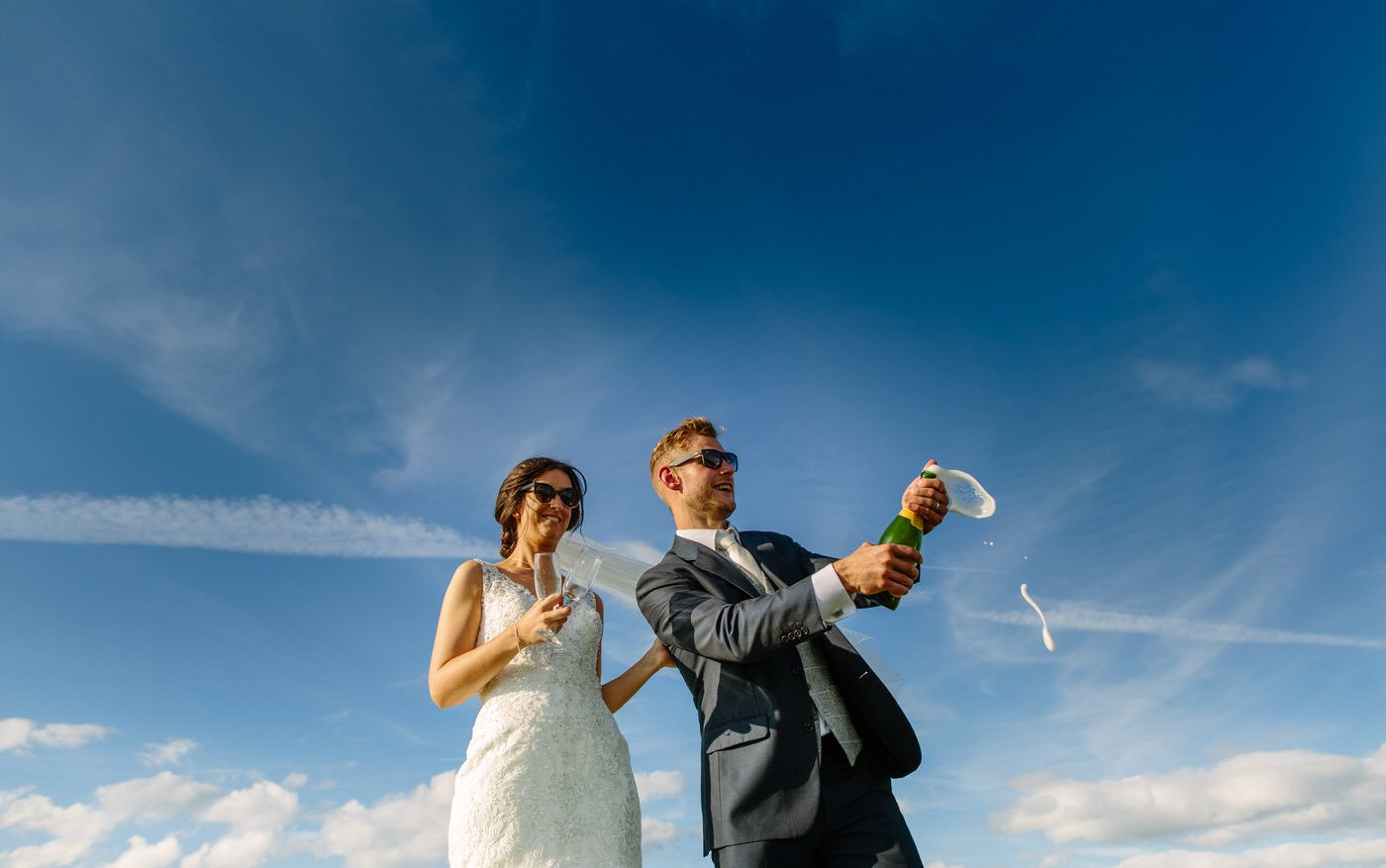 Bride and Groom celbrating at a North Wales Wedding