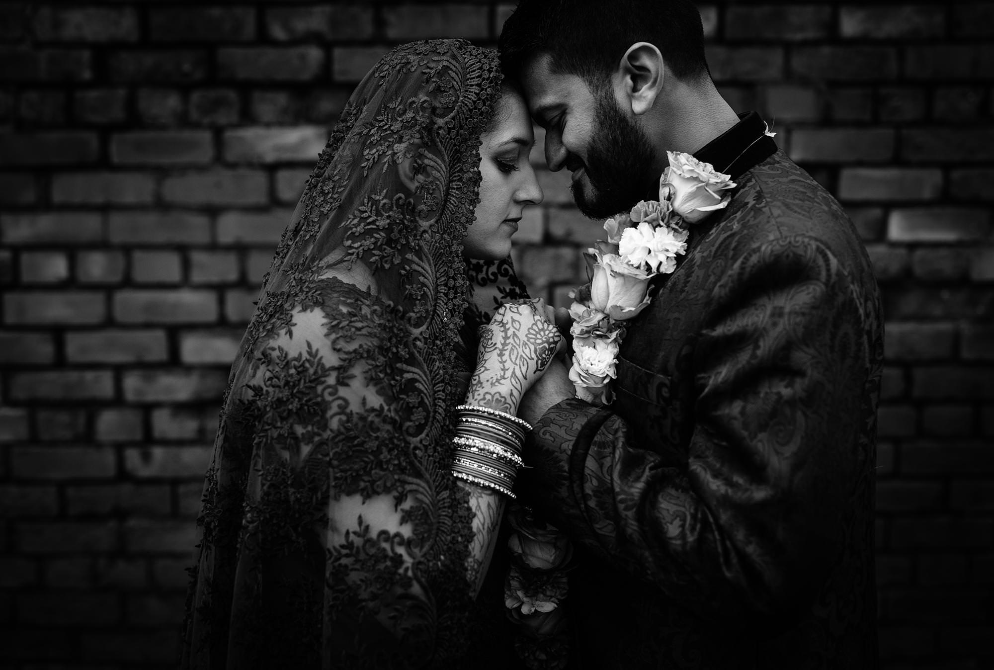 shropshire wedding and portrait photographer captures black and white images of muslim wedding in Manchester