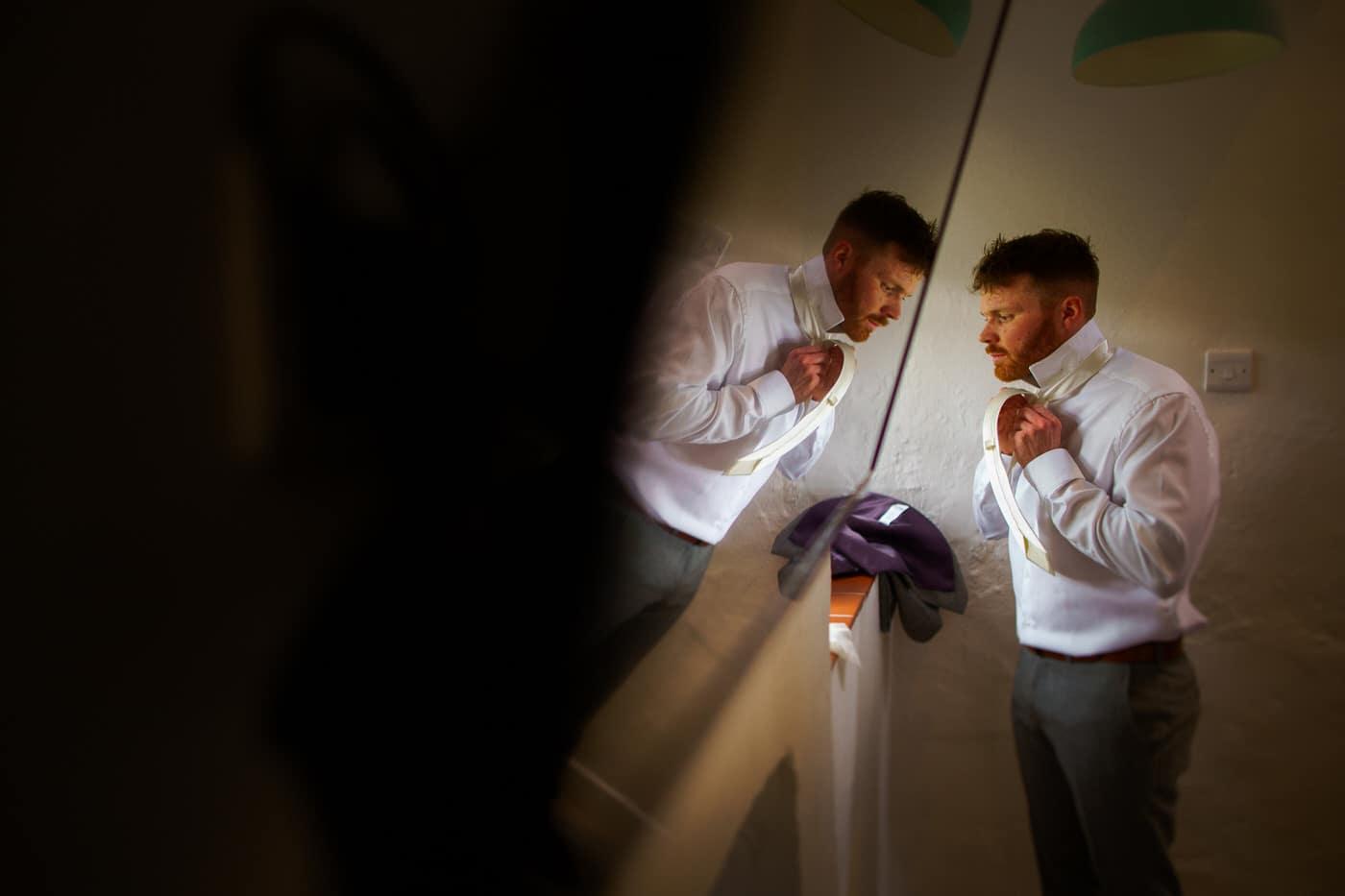 Groom preparations at a Tyn Dwr Hall Wedding