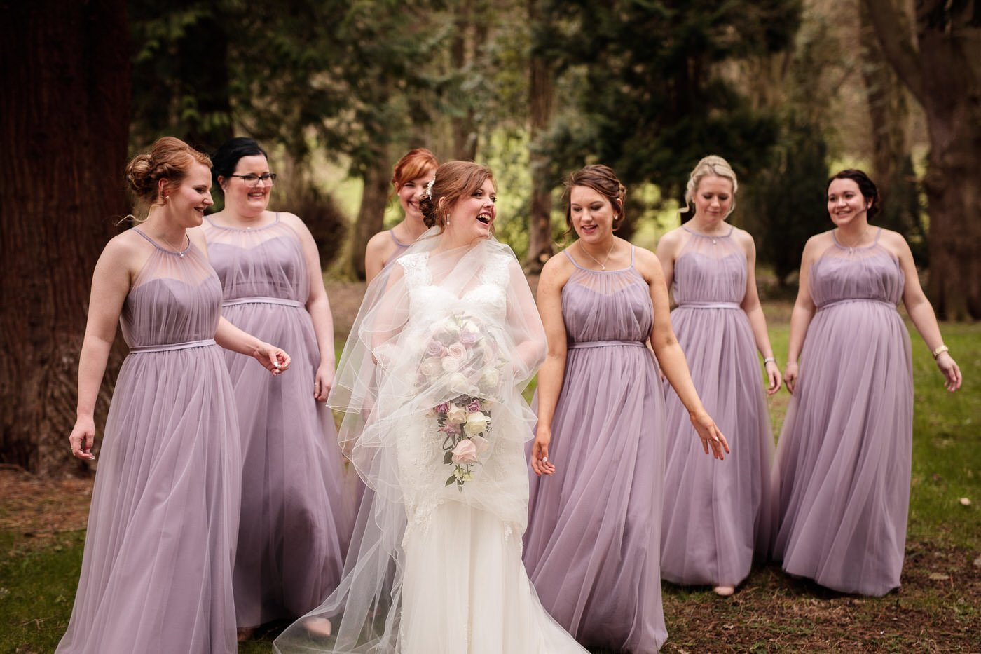 Bridesmaids in attendance at a Tyn Dwr Hall Wedding