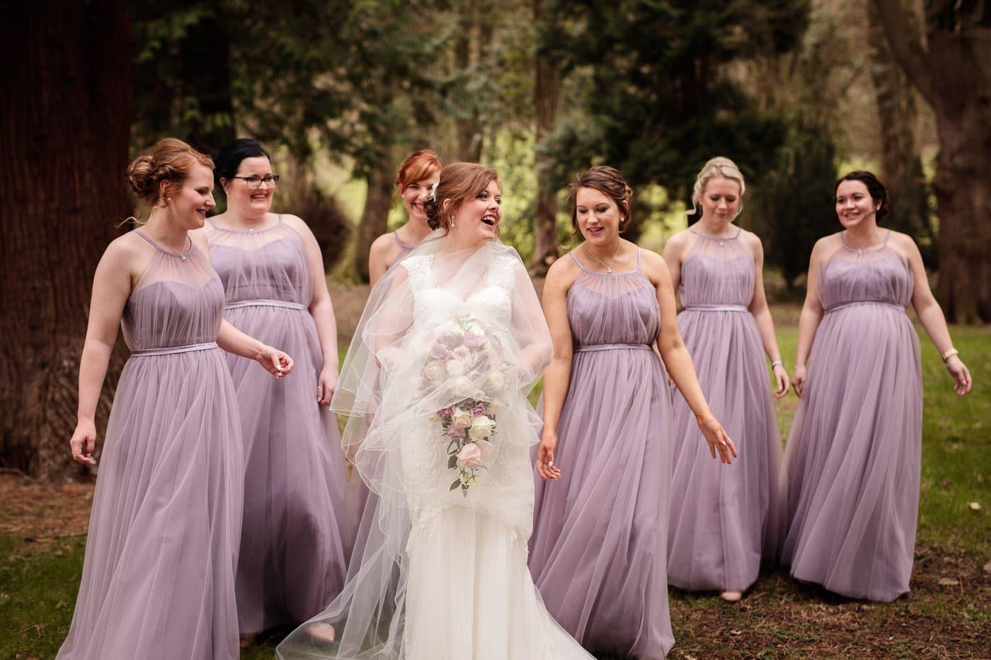 Bridesmaids in attendance at a Tyn Dwr Hall Wedding