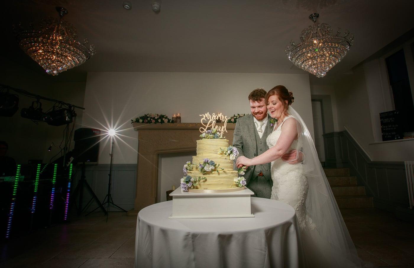 Cake cutting at a Tyn Dwr Hall Wedding