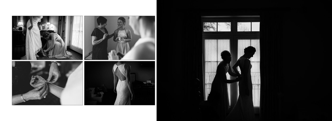 Wedding photographer in Shropshire captures selection of black and white images of bridal preparations