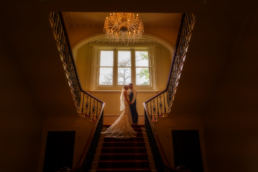 The beautiful briude and her groom at Netley Hall in Shropshire