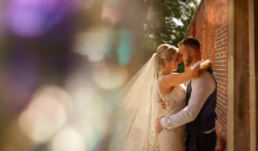 Bride and groom at Netley Hall in Shropshire