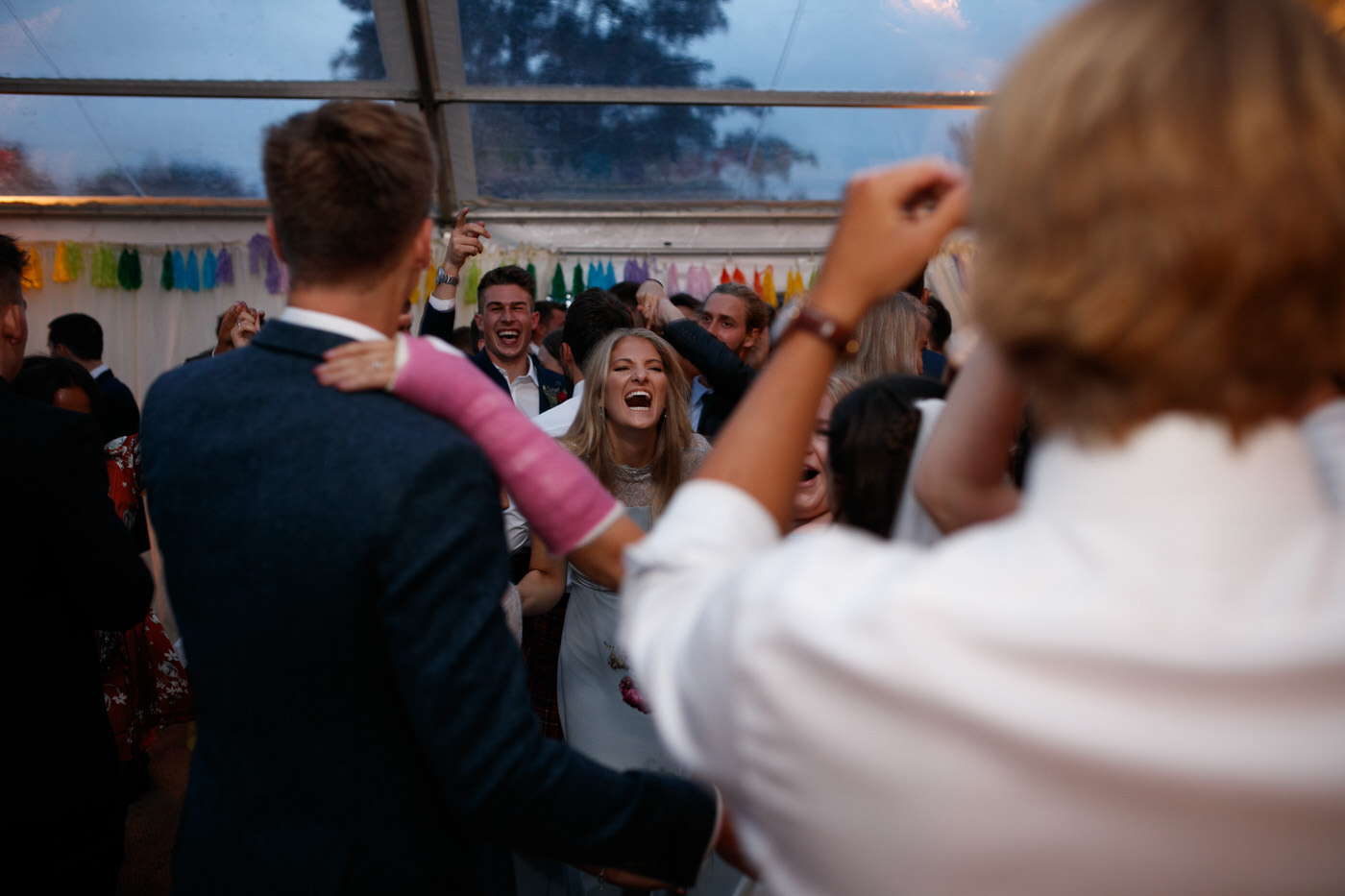 shropshire wedding photographer captures candid moment on dance floor