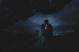creative image of bride and groom by wedding photographer in shropshire