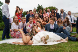 shropshire wedding photographer with guests