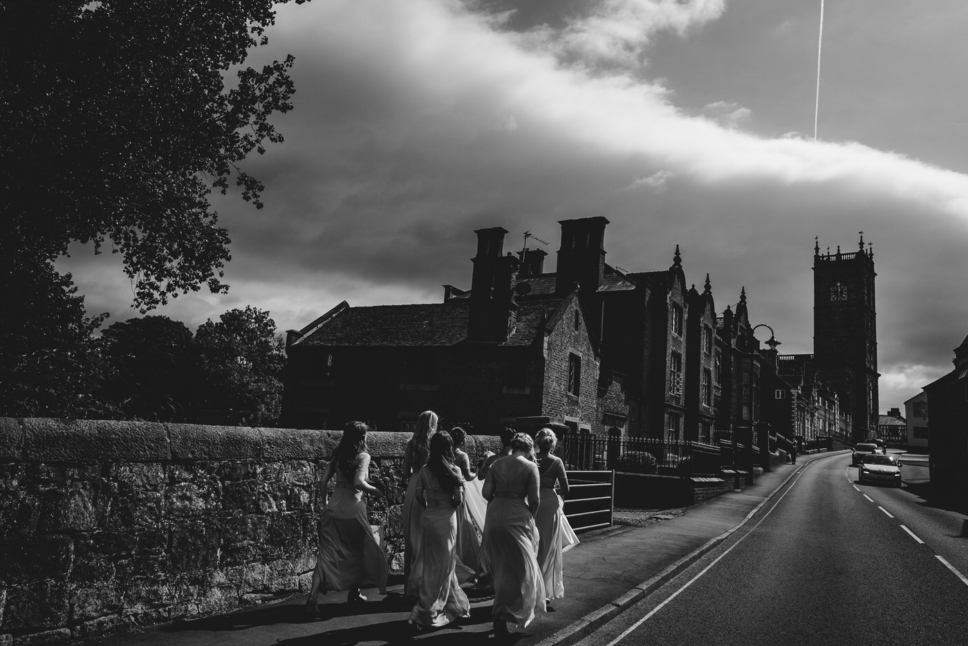 shropshire wedding party make their way to the church