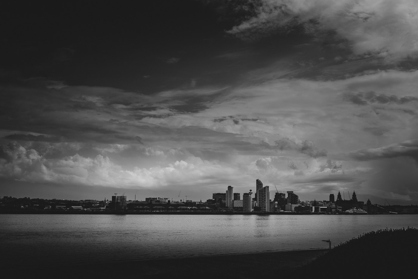 The city of Liverpool in black and white, as seen from Wallasey