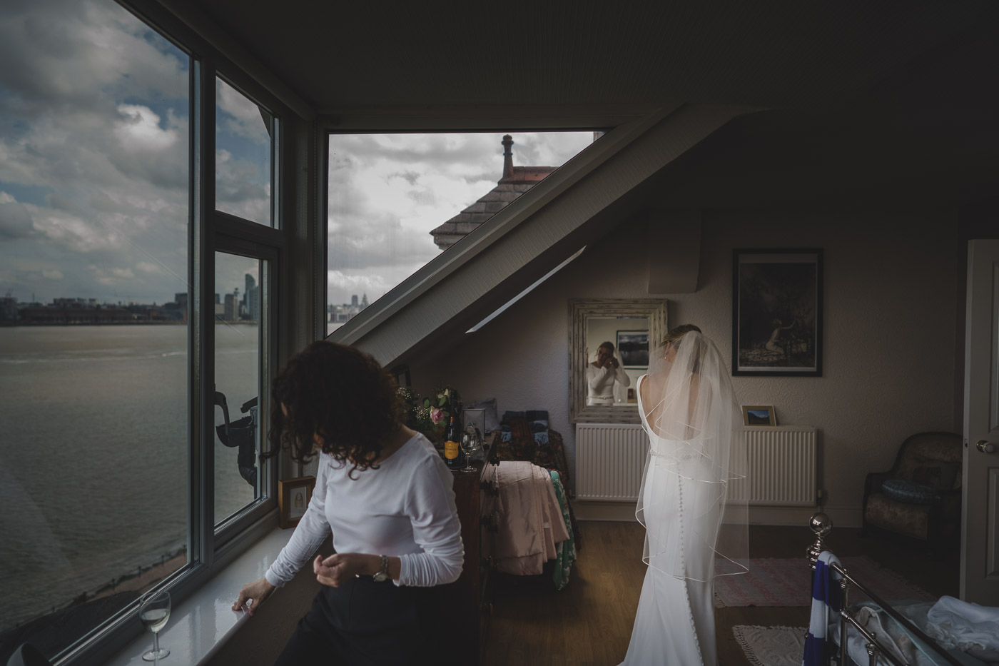 Bride getting ready at her Liverpool home