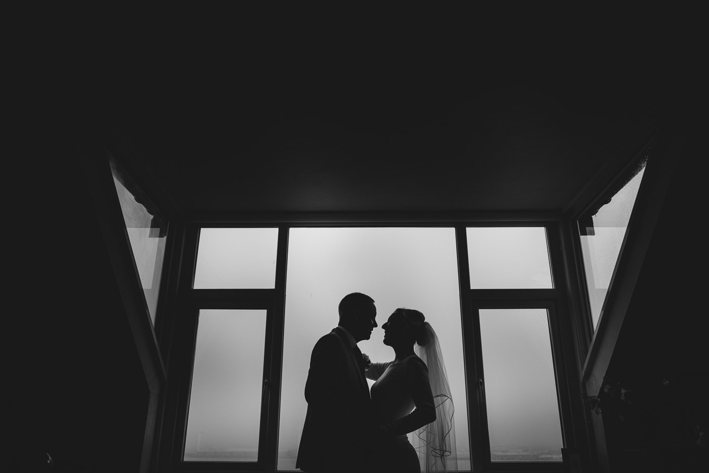 silhouette of bride and groom at their Liverpool home