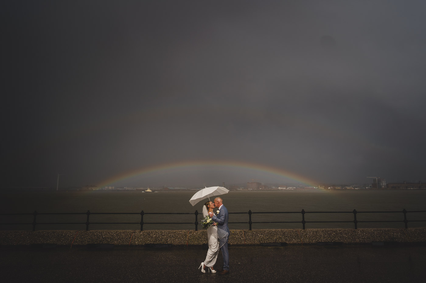 Bride and groom face the storm in Liverpool