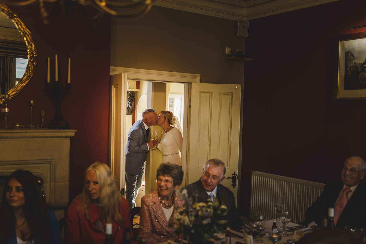 bride and groom share a tender moment at Mere Brook House in Liverpool