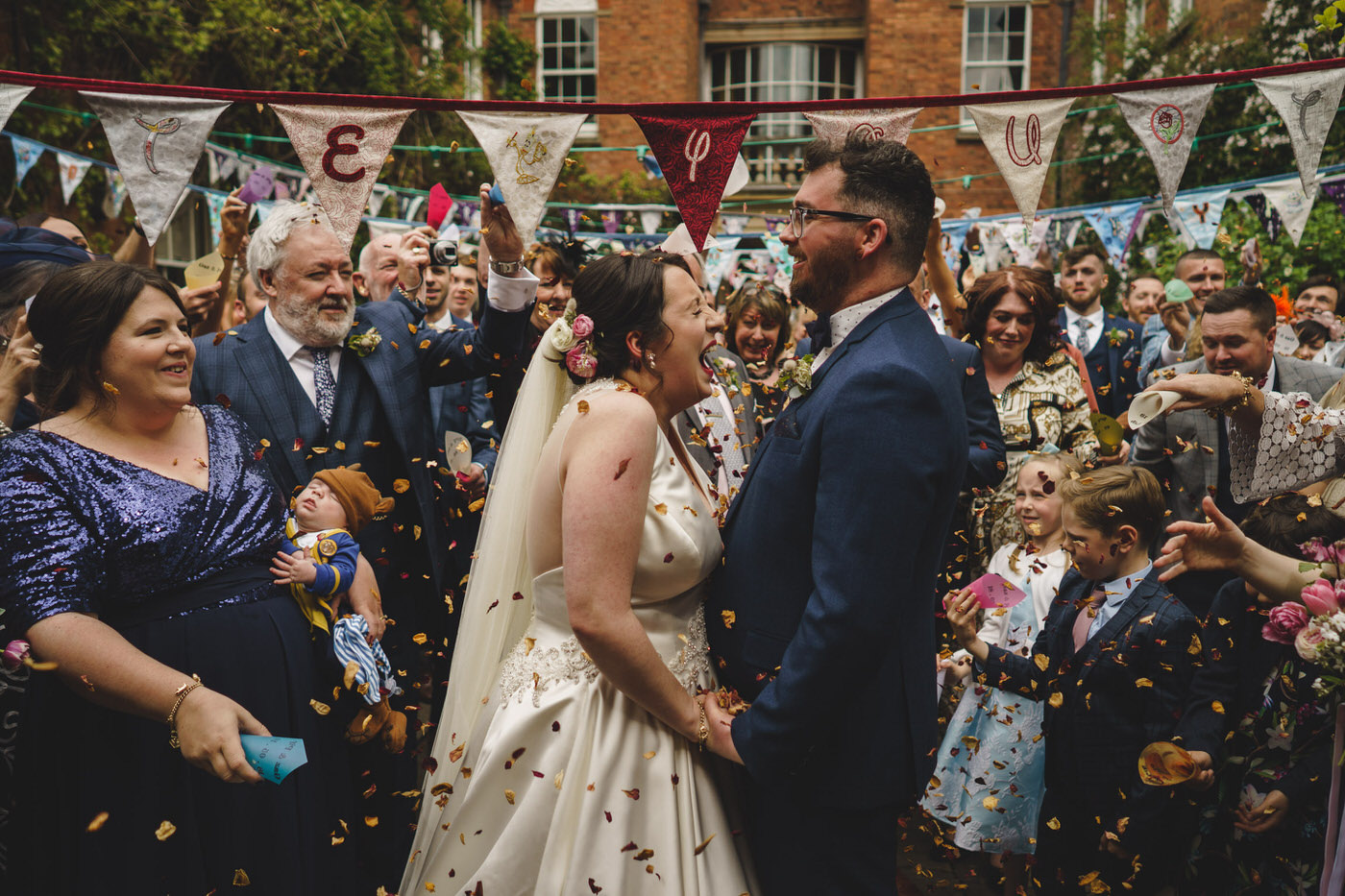 confetti at a beautiful Walcot Hall Wedding