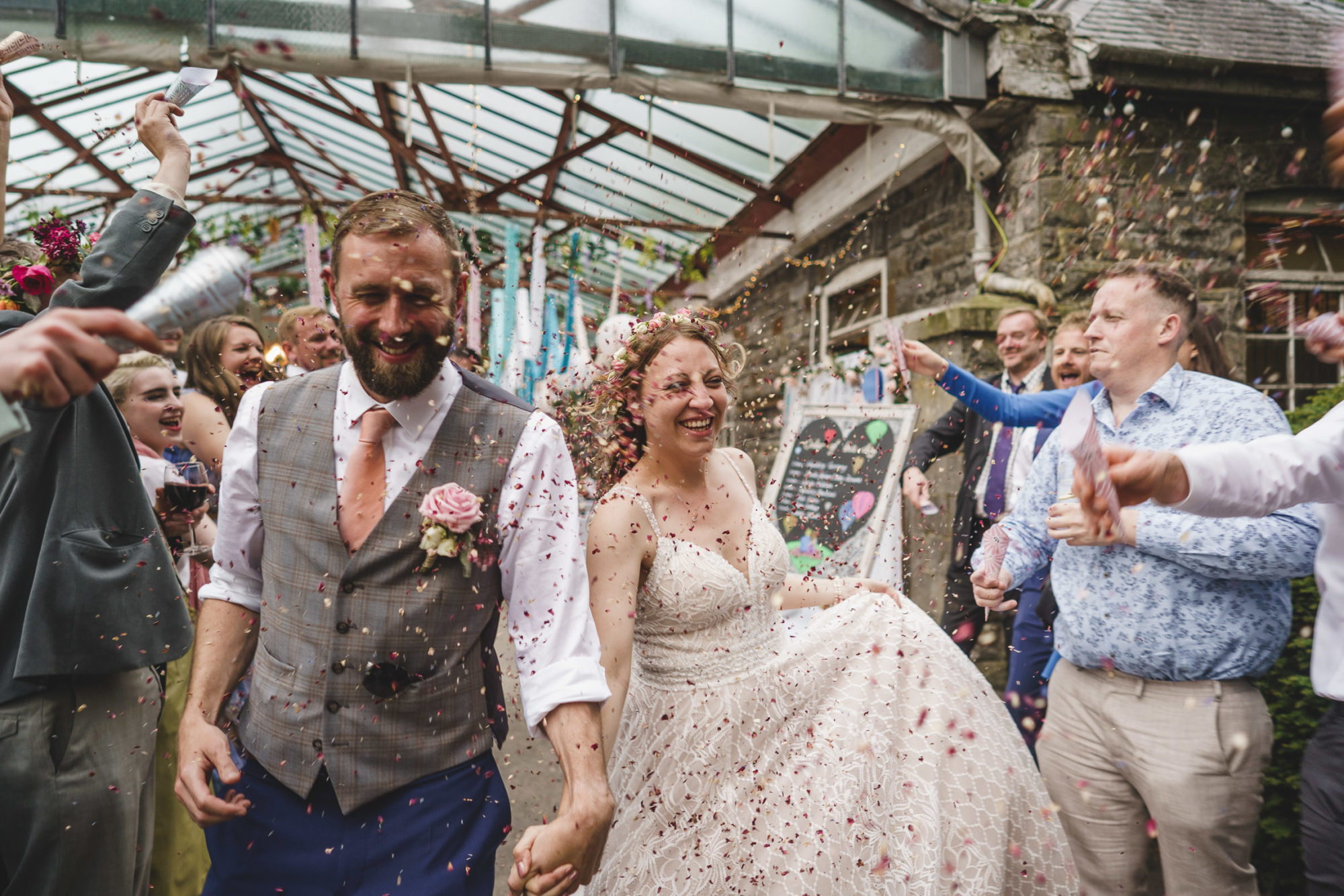 confetti run at Plas Dinam Wedding