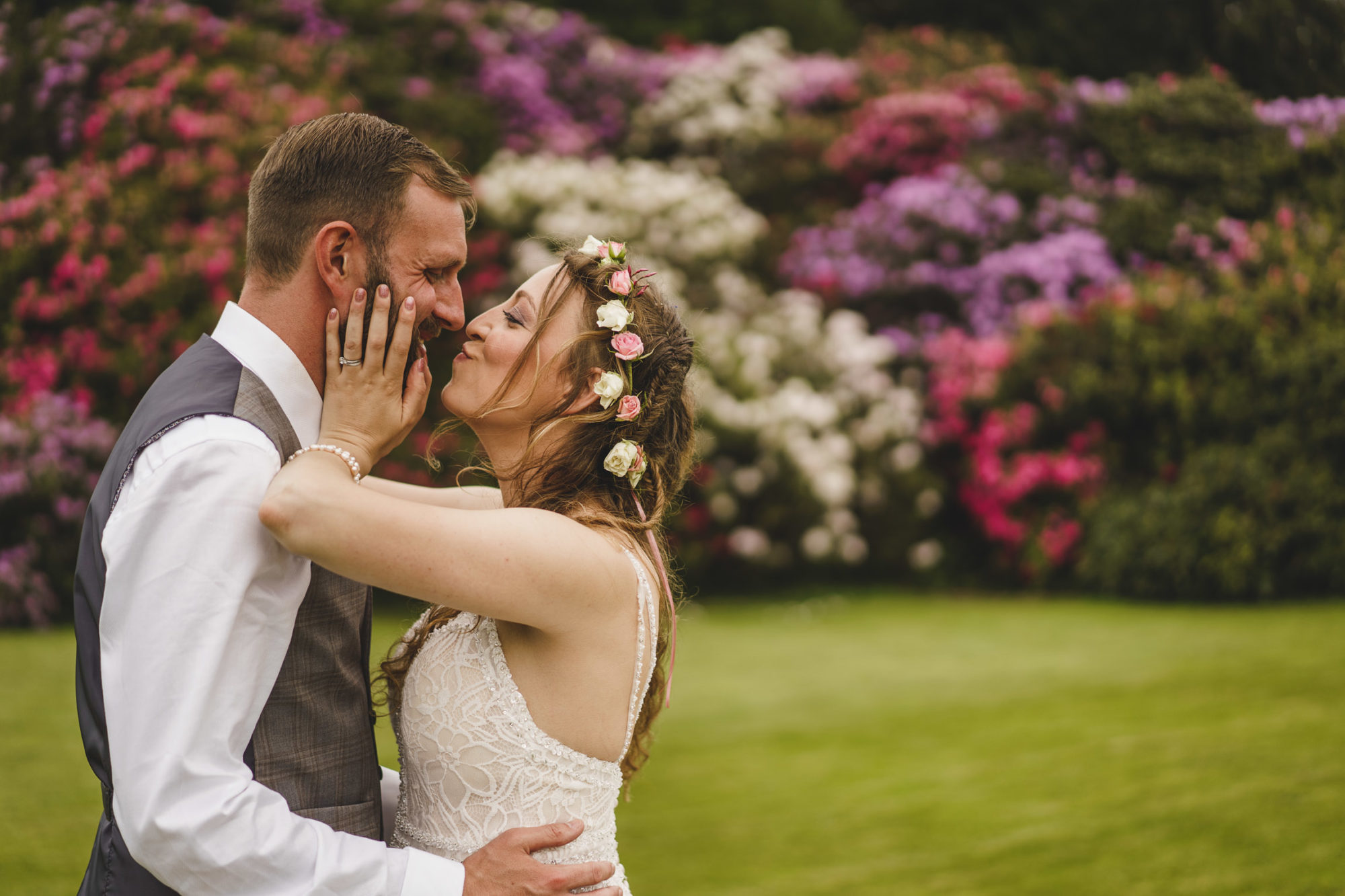 bride and groom at Plas Dinam Wedding Day