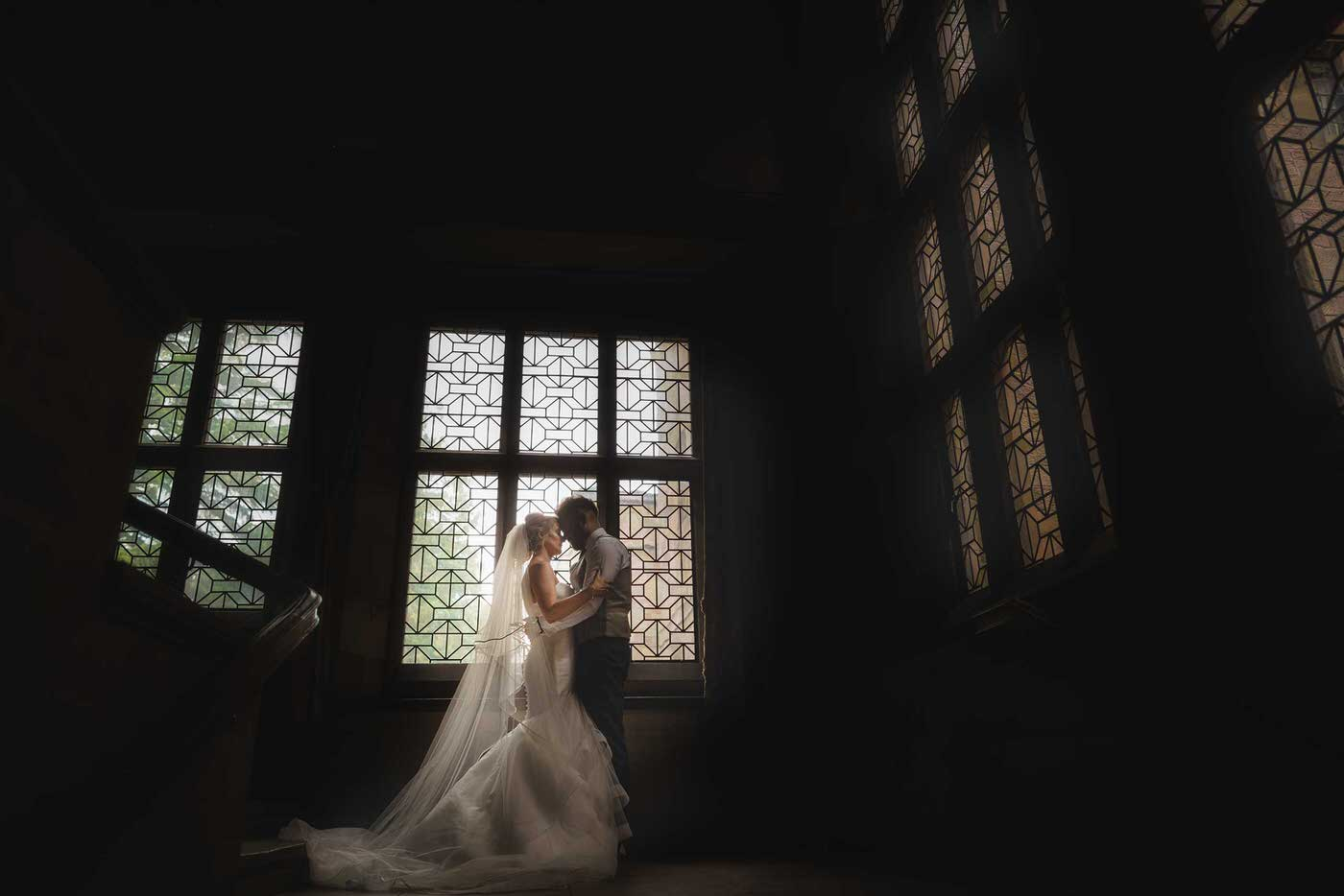Bride and groom at Adcote School in Shropshire