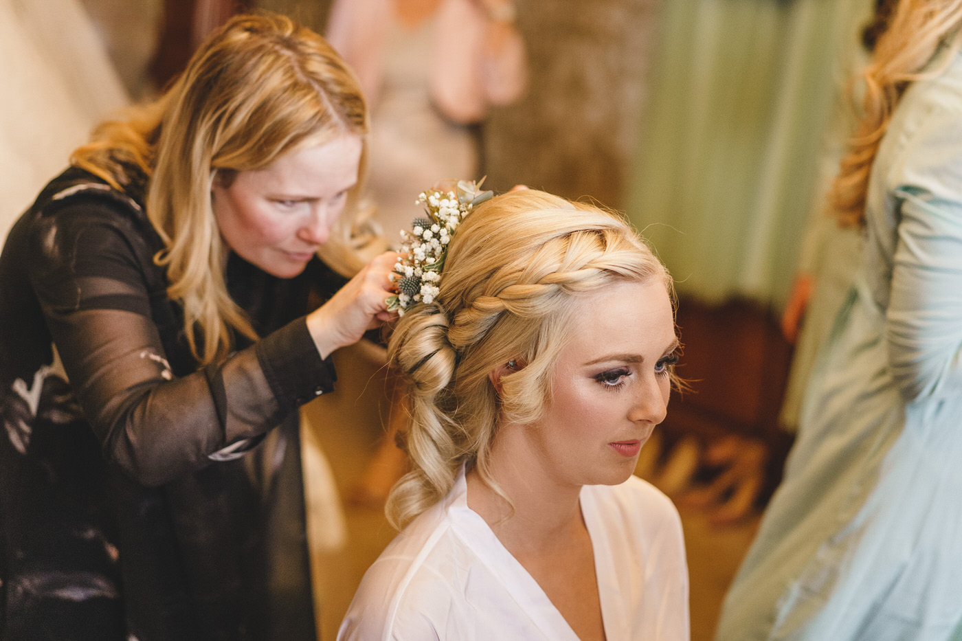 bride getting ready at soulton hall in shropshire