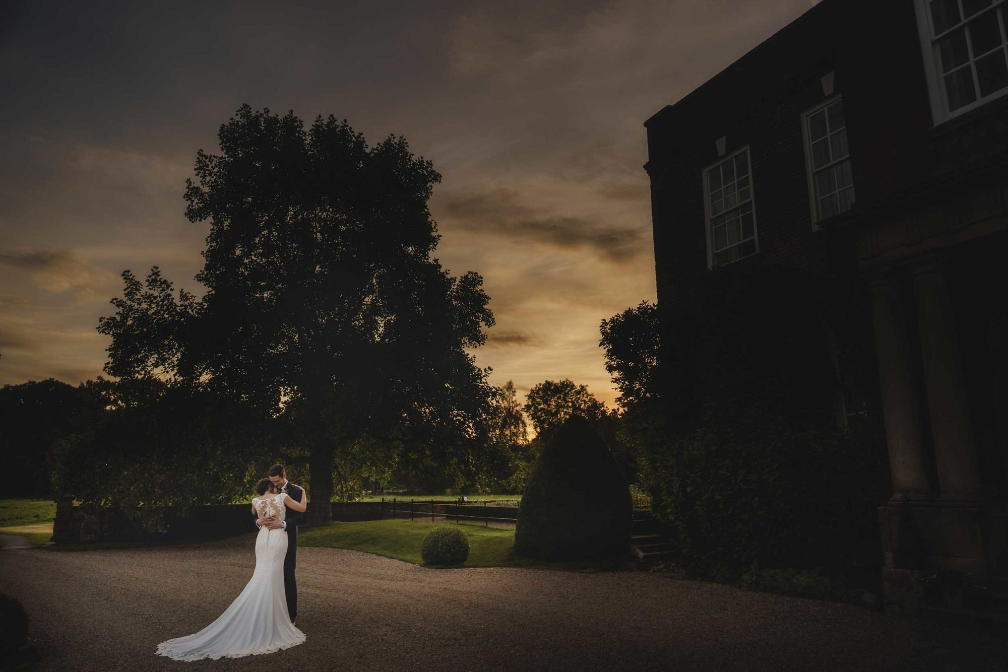 romantic shot of bride and groom at Iscoyd Park in Shropshire