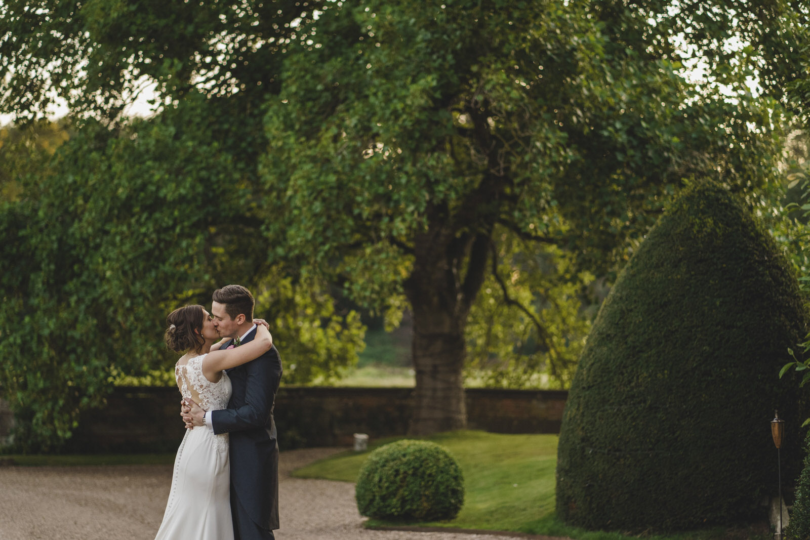 a romantic evening shot of bride and groom at Iscoyd Park in Shropshire