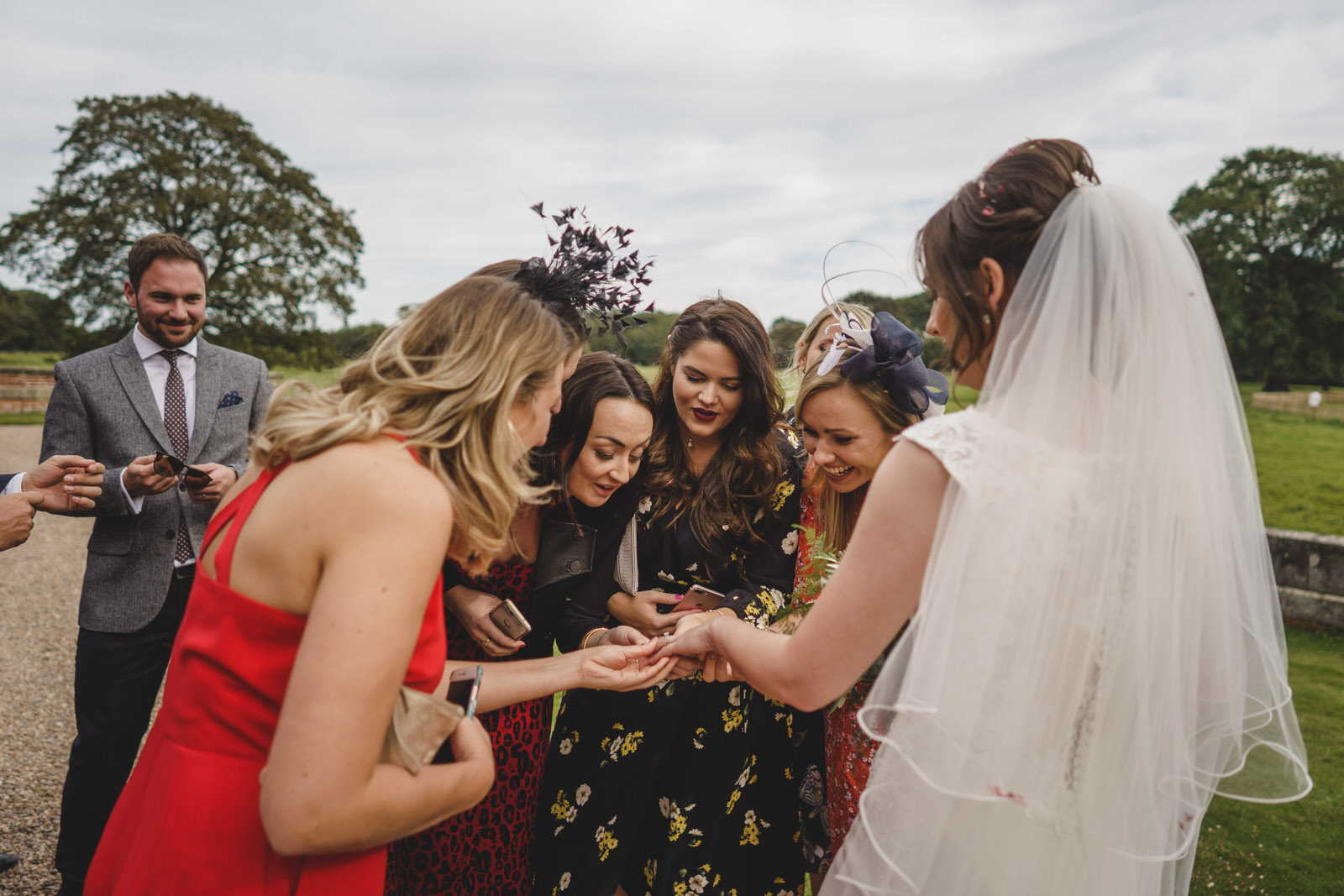Iscoyd park wedding photographer in Shropshire with bride and guests