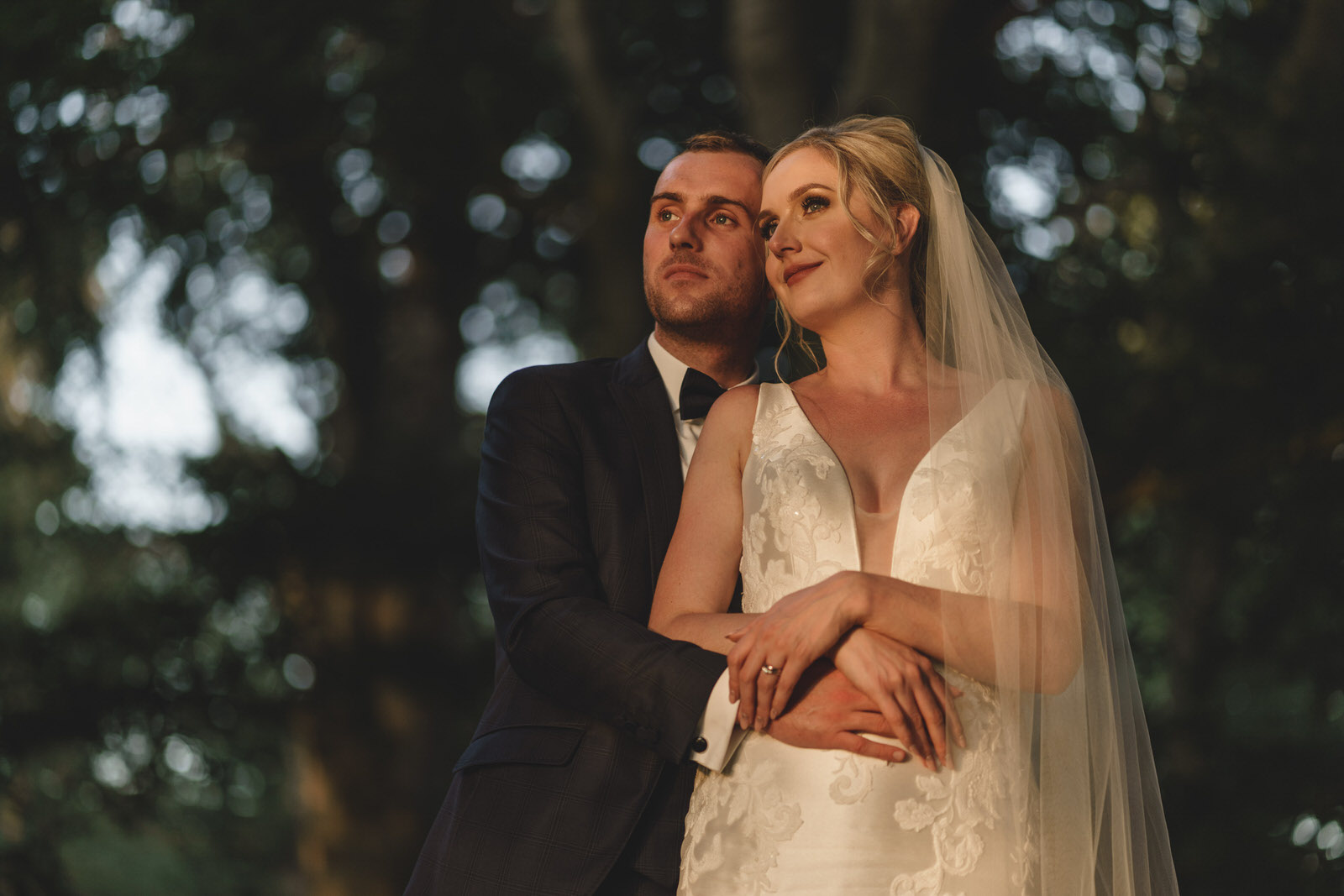a beautiful bridal portrait in the woods at combermere abbey