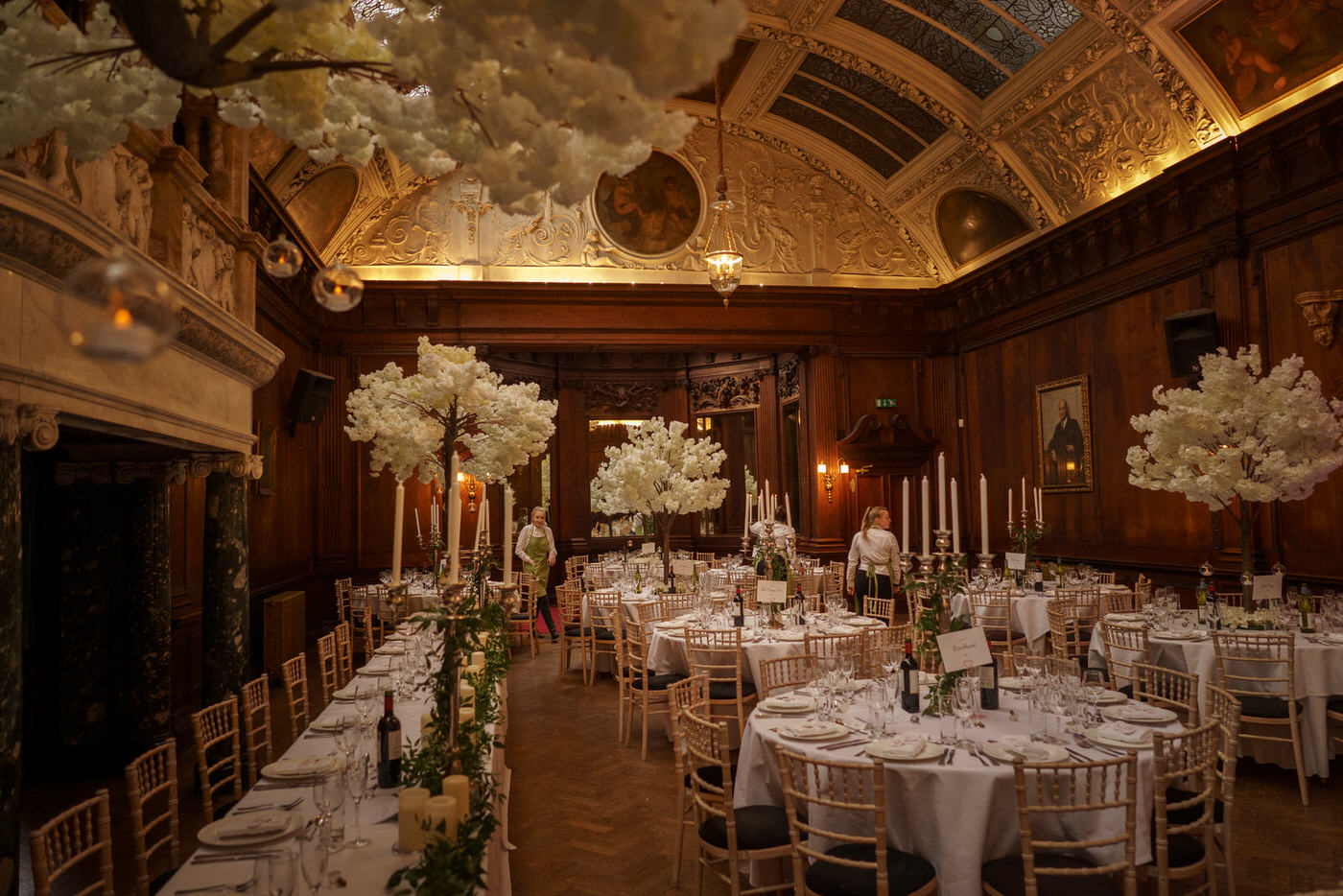the tables and decorations of the wedding reception at Thornton Manor