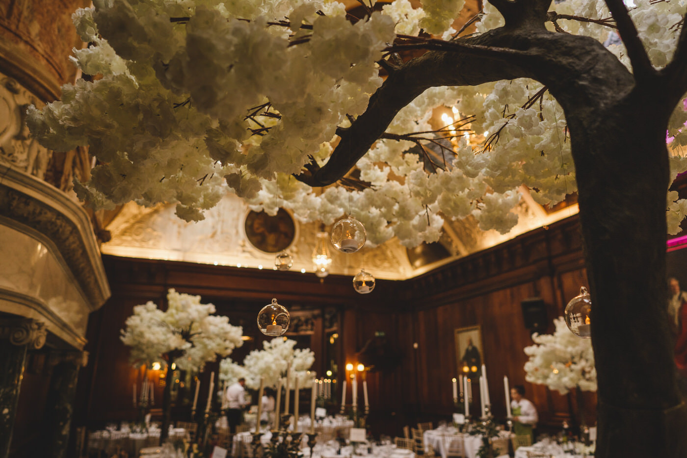 beautiful cherry blossom trees adorn the wedding reception at Thornton Manor
