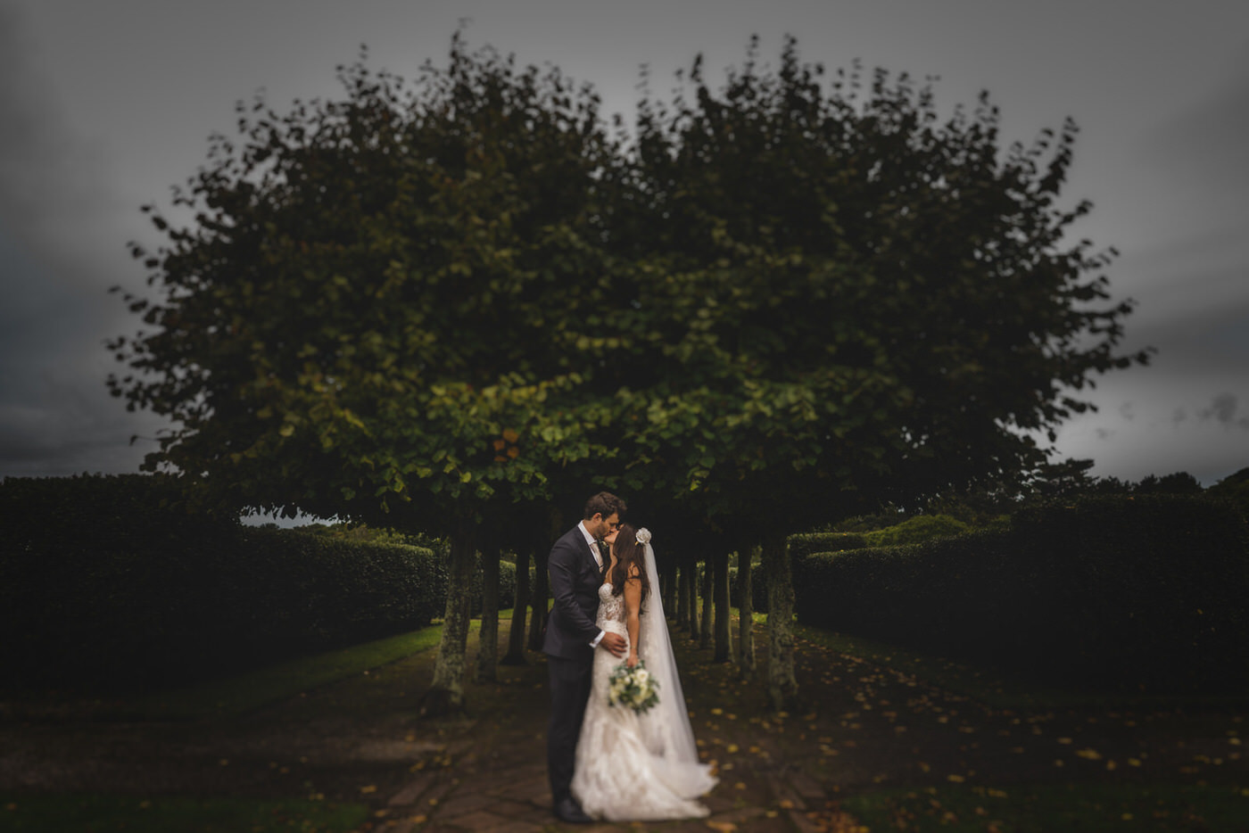 a gentle kiss is shared as the bride and groom stand in front of a heart shaped tree at Thornton Manor
