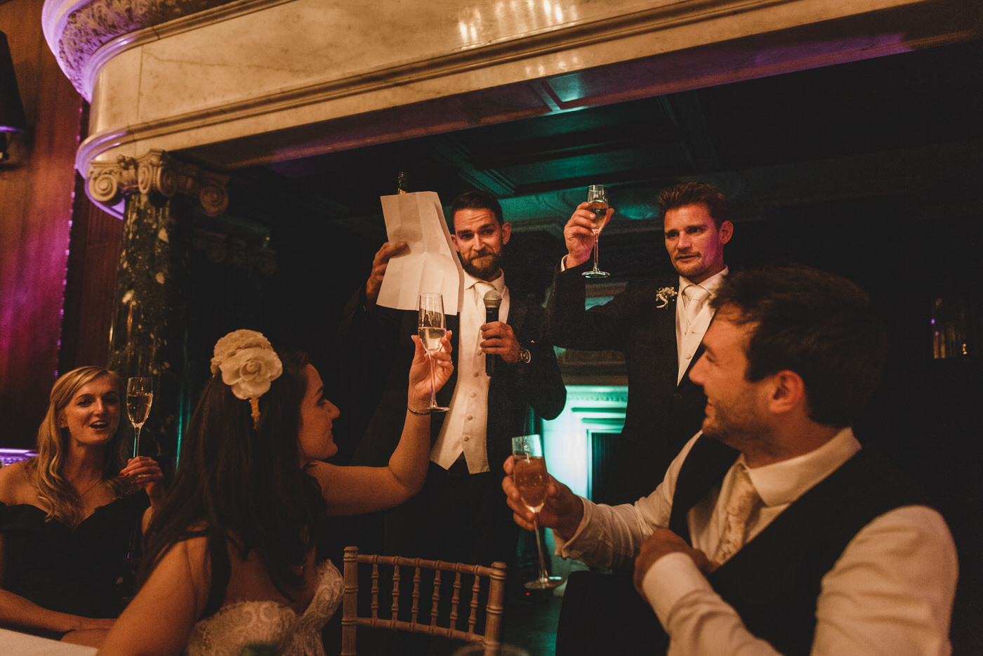 a toast is given to the happy couple as the wedding speeches start