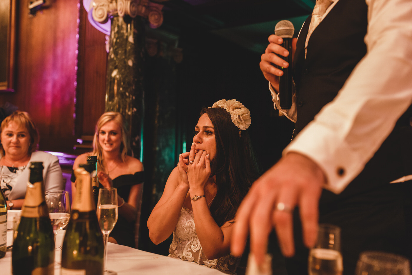 the bride wolf whistles during the wedding speeches