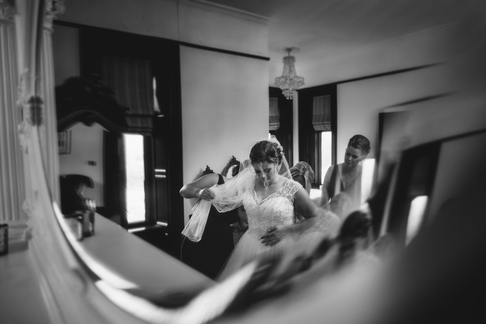 The bride takes time out to get ready at Tyn Dwr Hall