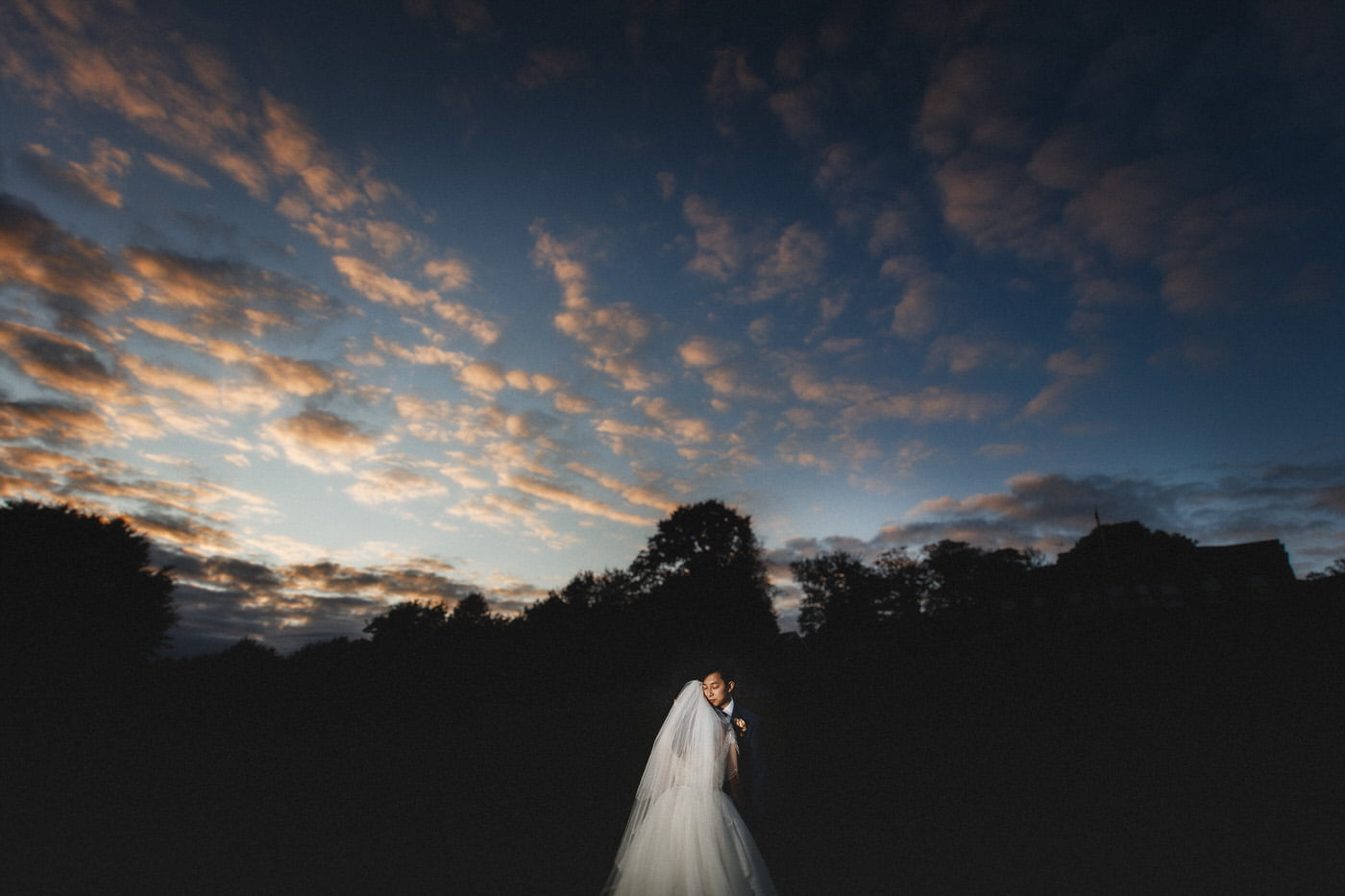 Yorkshire wedding photographer captures image of bride and groom during sunset